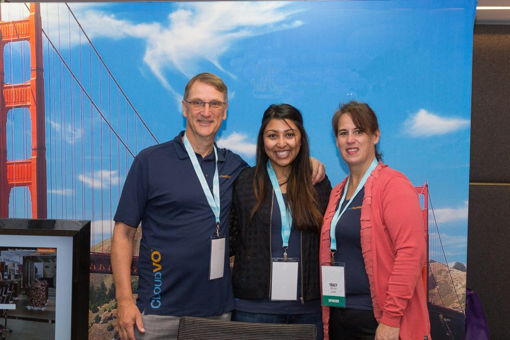 Laurent (CEO), Karina (Marketing Director), and Tracy (COO) at the CloudVO booth