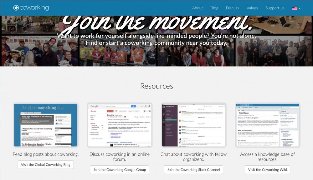 coworking.org homepage - resources for coworking operators around the world