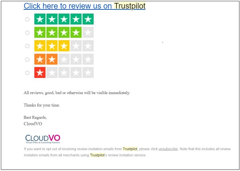 Importance of Customer Reviews for Coworking Spaces CloudVO Trustpilot invite
