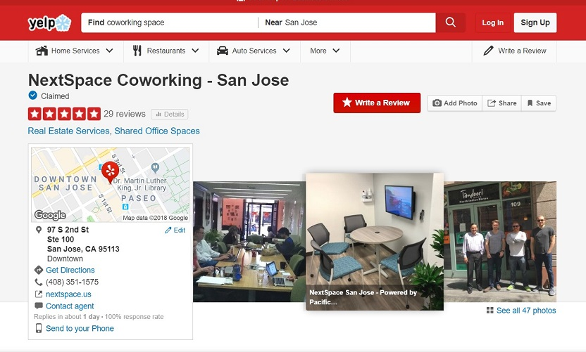 Importance of Customer Reviews for Coworking Spaces NextSpace San Jose Yelp Reviews