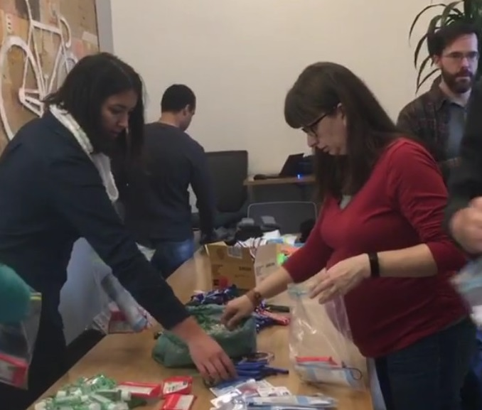 NextSpace Coworking San Jose Care bags for the homeless member event