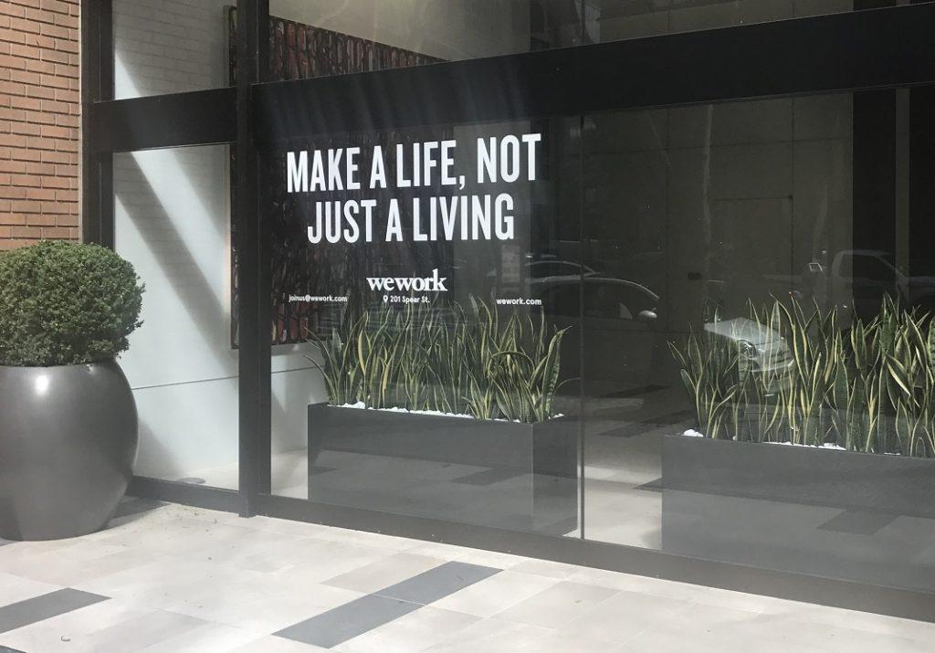 WeWork Window Sign San Francisco 201 Spear Street