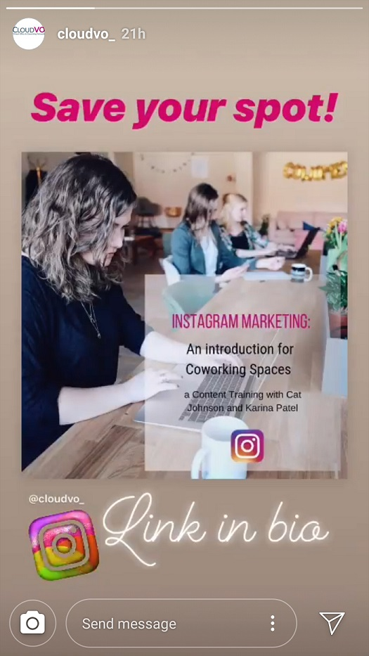 CloudVO Blog Instagram Stories for Coworking Space Operators Link to your content
