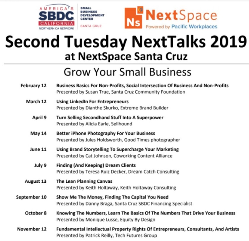Cloud VO Partner NextSpace Coworking Santa Cruz Partners with Small Business Development Center