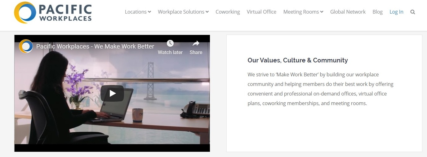 CloudVO Blog Videos for Coworking Space Onboarding Pacific Workplaces Values and Culture Video