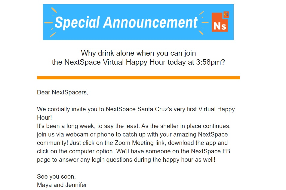 Virtual Happy Hour NextSpace Coworking Santa Cruz