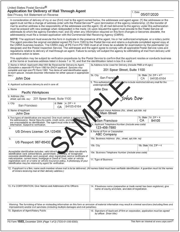1583 CMRA Postal Form Sample | CloudVO