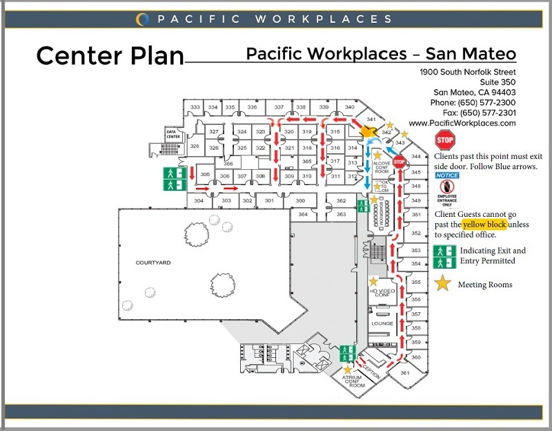 Directional Floor Plan for Pacific Workplaces San Mateo | CloudVO Partner