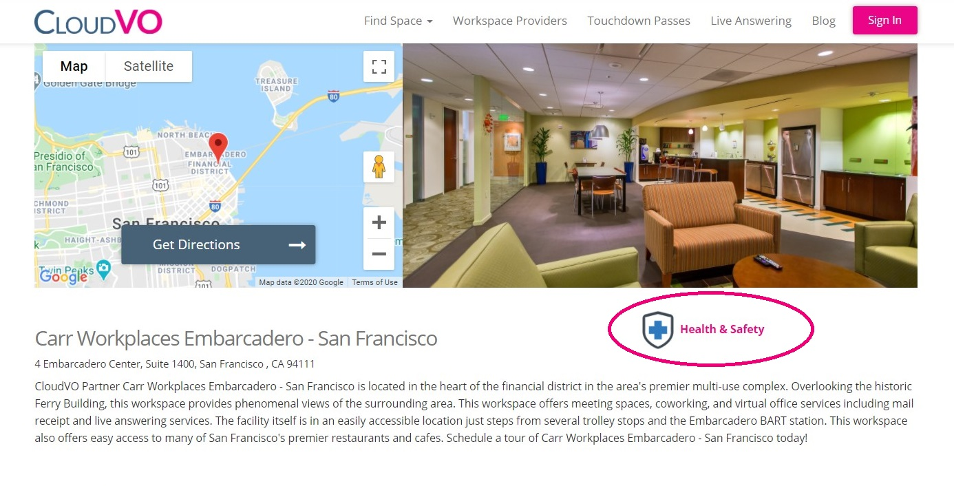 San Francisco Virtual Office Plans Health and Safety | CloudVO | Carr Workplaces